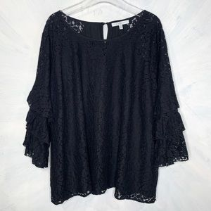 Fever Lace Bell Sleeve Scoop Neck 3X